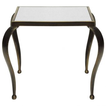 Worlds Away Moseley Square Side Table with Painted Bronze Frame