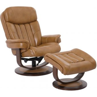Parker Living Prince Butterscotch Manual Reclining Swivel Chair and Ottoman