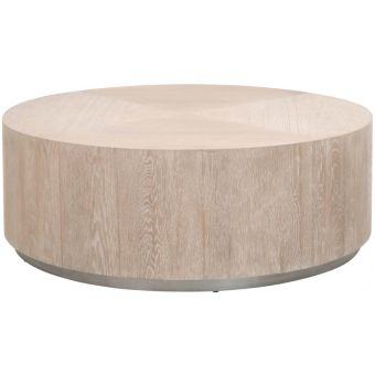 Essentials For Living District Roto Large Coffee Table Natural Gray Oak, Silver