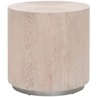 Essentials For Living District Roto Large End Table Natural Gray Oak, Silver