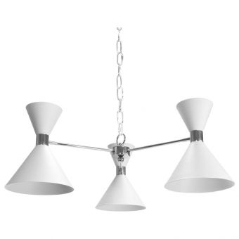 Worlds Away Sullivan Three Light Metal Shade Chandelier in Nickel and Matte White (CL1A) - CLEARANCE SALE