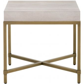 Essentials For Living Traditions Strand Shagreen End Table in White