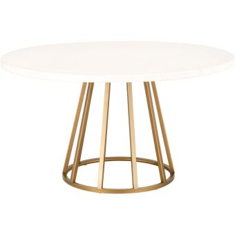 """Essentials For Living Traditions Turino Concrete 54"""" Round Dining Table in Gold"""