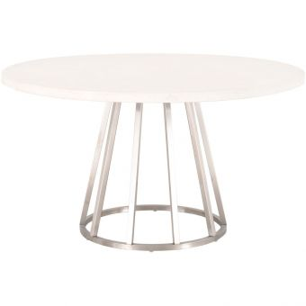 """Essentials For Living Traditions Turino Concrete 54"""" Round Dining Table in Stainless Steel"""