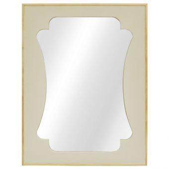 Worlds Away Vista Rectangular Mirror with Faux Cream Shagreen and Wooden Edging