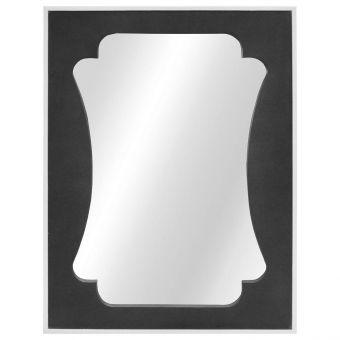 Worlds Away Vista Rectangular Mirror with Faux Dark Grey Shagreen and White Edging