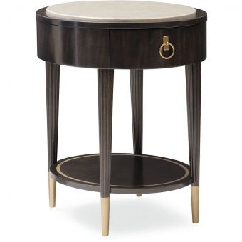 Caracole Everly Bronzed Ebony Round Side Table