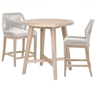 """Essentials For Living Woven Carmel-Loom Outdoor 36"""" Round Counter Dining Set - CT2CS1"""