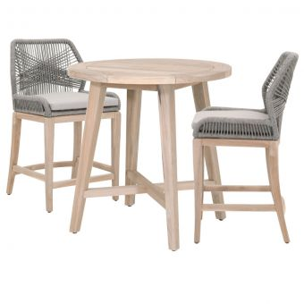 """Essentials For Living Woven Carmel-Loom Outdoor 36"""" Round Counter Dining Set - CT2CS2"""