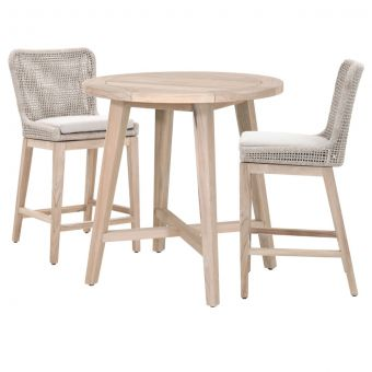 """Essentials For Living Woven Carmel-Mesh Outdoor 36"""" Round Counter Dining Set - CT2CS"""