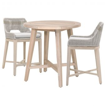 """Essentials For Living Woven Carmel-Tapestry Outdoor 36"""" Round Counter Dining Set - CT2CS1"""