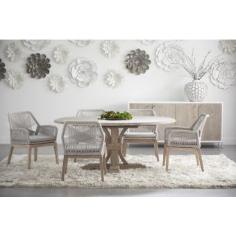 """Essentials For Living Traditions Devon 7pc 54"""" Round Extension Dining Table Set#6808KD"""