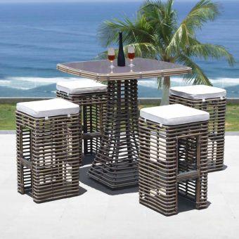 Skyline Design Dynasty Bar Set With Grey Glass