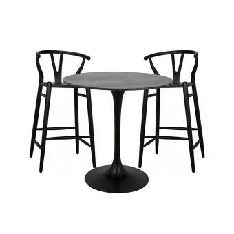 "Noir Furniture Laredo Zola Bar Set 40"", Black Steel with Black Marble Top"