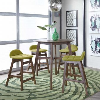 Liberty Furniture Space Savers Gathering Table with Green Barstool Set