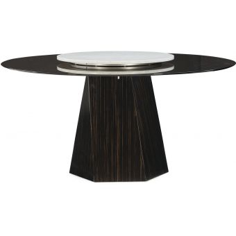 """Caracole Modern Edge Vector Dining Table 60"""" Round Tinted Glass Top With Lady Suzan"""