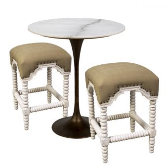 "Noir Furniture Laredo Bar Set 36"", Aged Brass, White Marble Top"