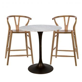 """Noir Furniture Laredo Zola Bar Set 40"""", Metal with White Stone Top"""