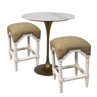 "Noir Furniture Laredo Bar Set 40"", Metal with Brass Finish, White Stone Top"