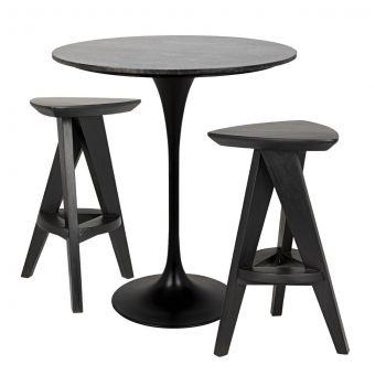 "Noir Furniture Laredo Bar Set 36"", Black Steel with Black Marble Top"