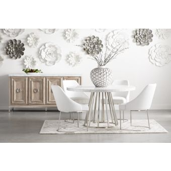 """Essentials For Living Traditions Turino Concrete 54"""" Round Dining Set in Stainless Steel"""