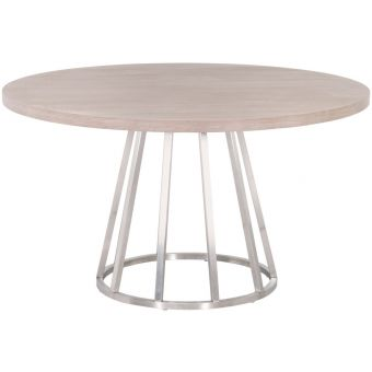 """Essentials For Living Traditions Turino Concrete 54"""" Round Wood Top Dining Table in Stainless Steel"""